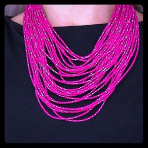 Hot pink seed bead necklace ONLY